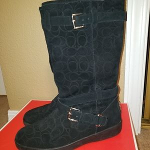 Coach Thelma Embs 12cm Black Suede Boots